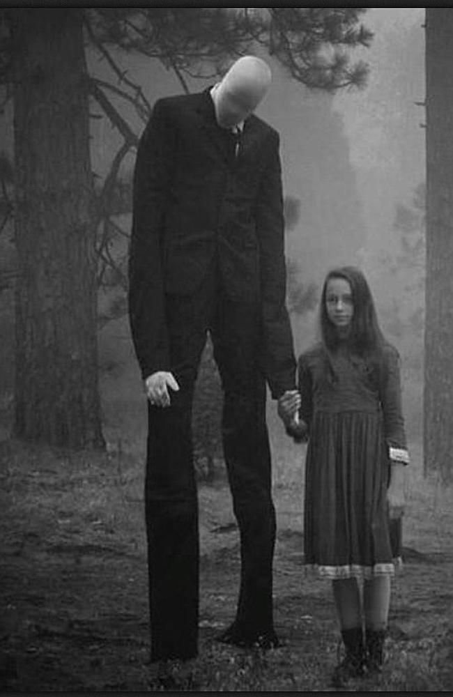 "The picture that launched a horror story ... One of the enhanced images behind the urban myth that became ""Slenderman"". Credit: Imgur Source: News Corp Australia"