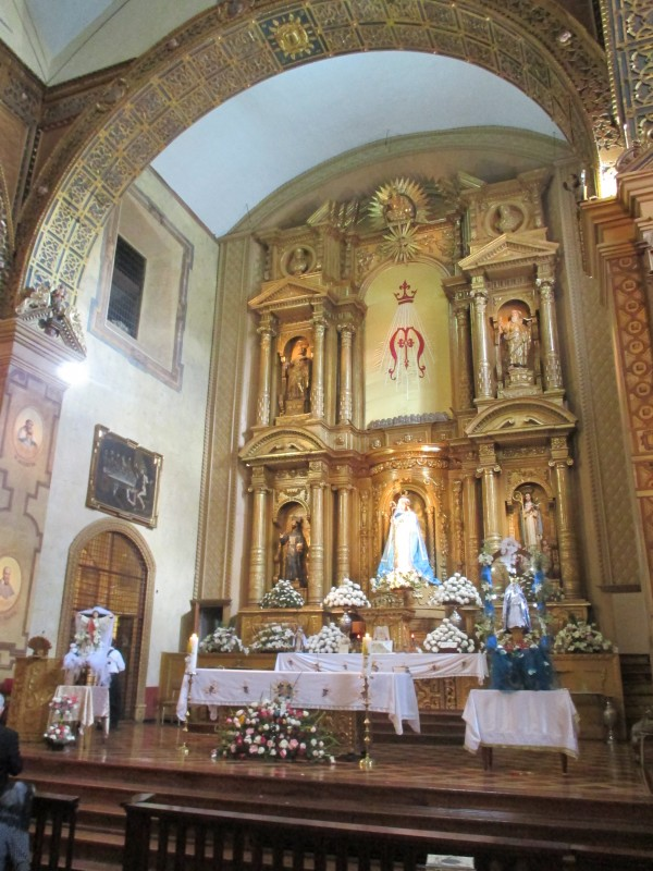 Main Altar of the Convent.  Note the Window to the Upper Left of the Altar behind which Was Mother Mariana's Cell Where She Could Continually View the Blessed Sacrament.