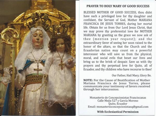 OLGS prayer card