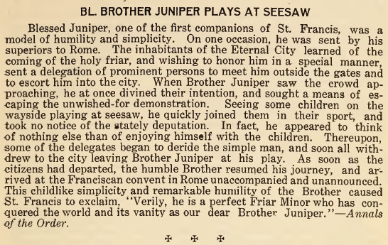 Blessed Brother Juniper Plays at Seesaw - April 1916