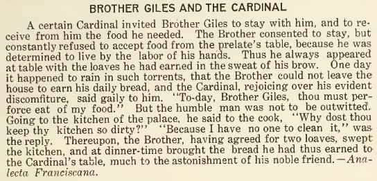 Brother Giles and the Cardinal - May 1916
