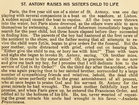 St. Anthony Raises His Sister's Child to Life - June 1916