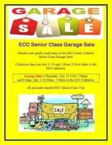ECC Senior Class Garage Sale – July 12-13