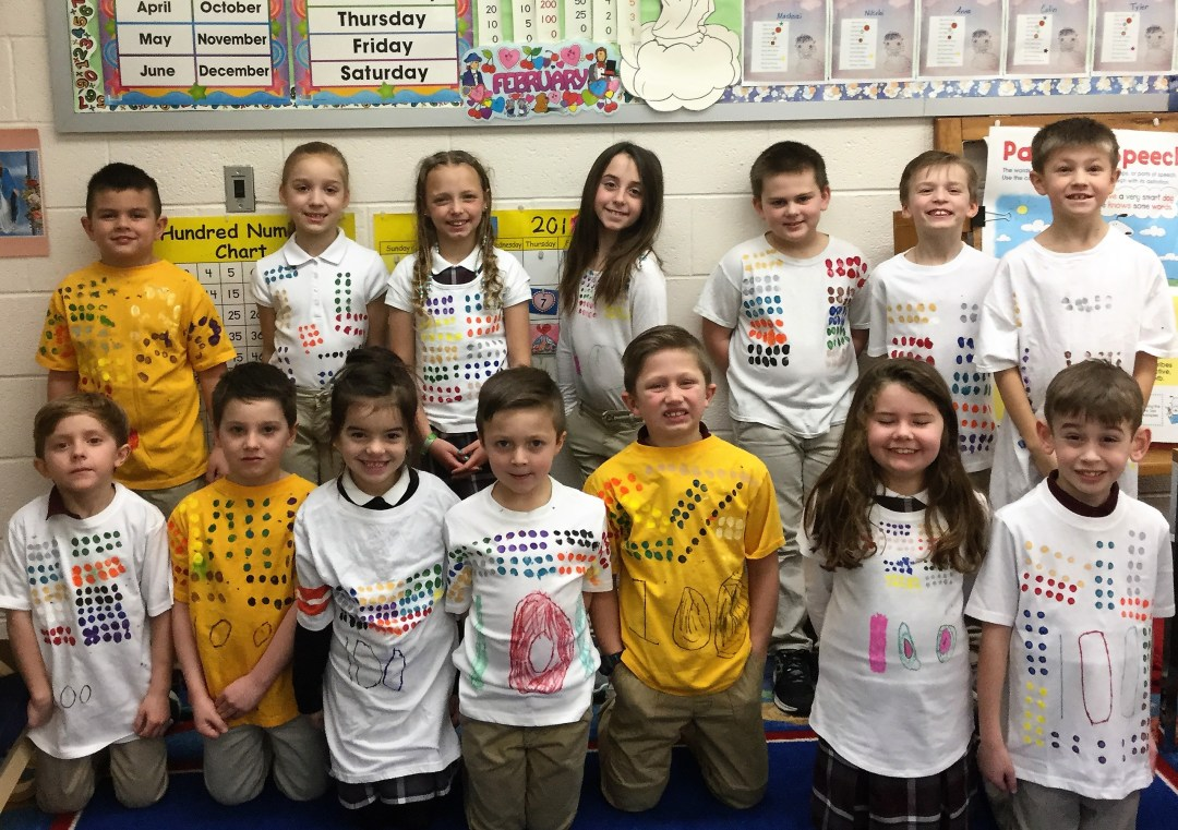 Elementary school students celebrate 100th day of school