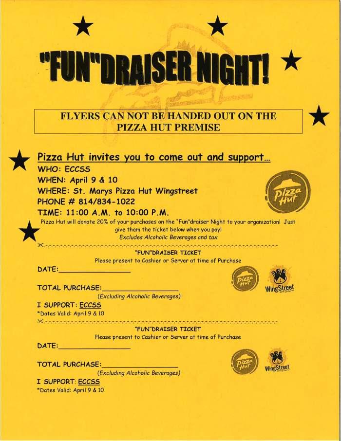 "ECCSS Pizza Hut ""Fun""draiser Night – April 9-10"
