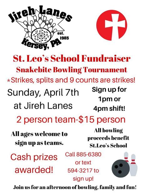 St. Leo Bowling Tournament – Sunday, April 7