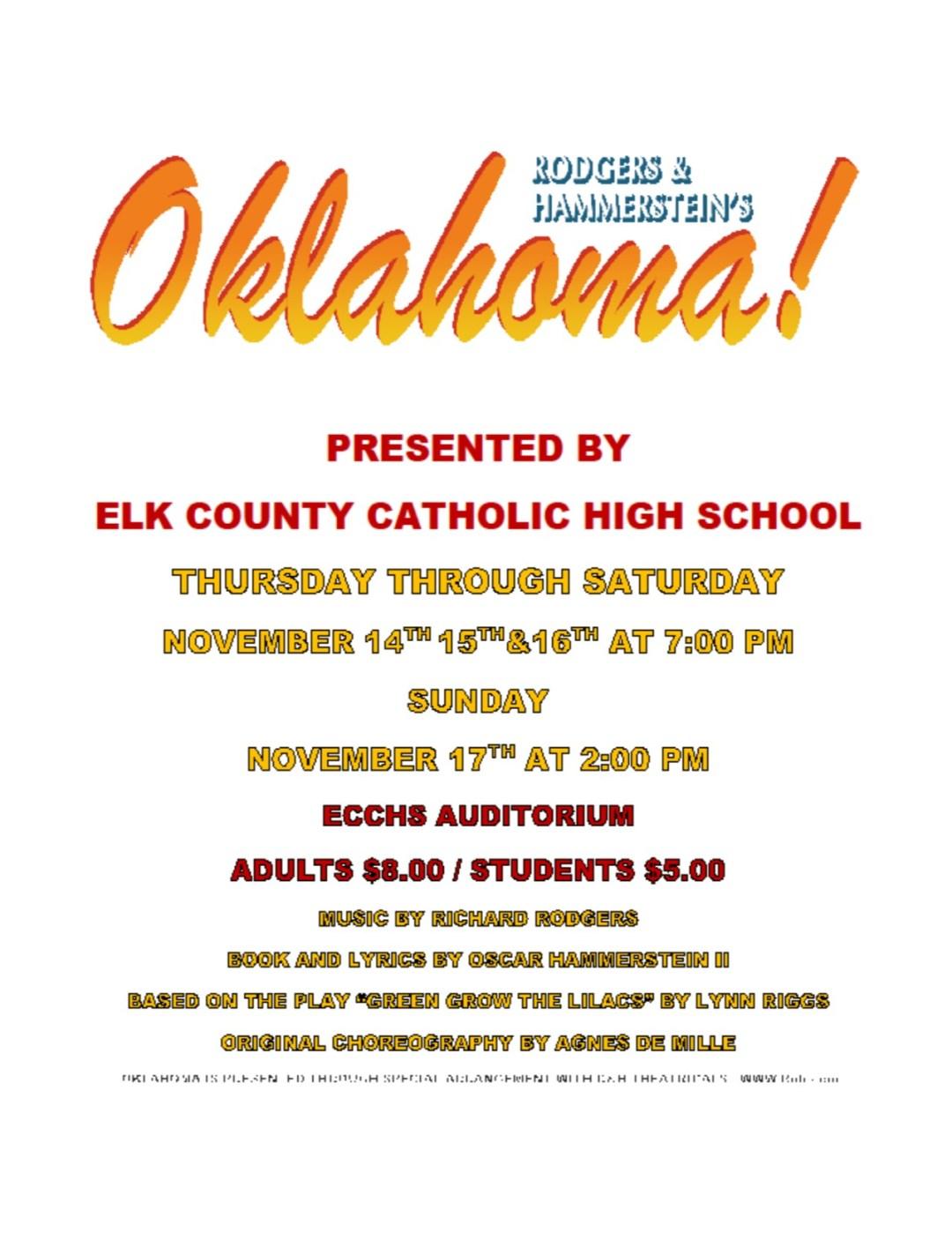 Reminder ECCHS Play-Oklahoma 11/14-11/17/19