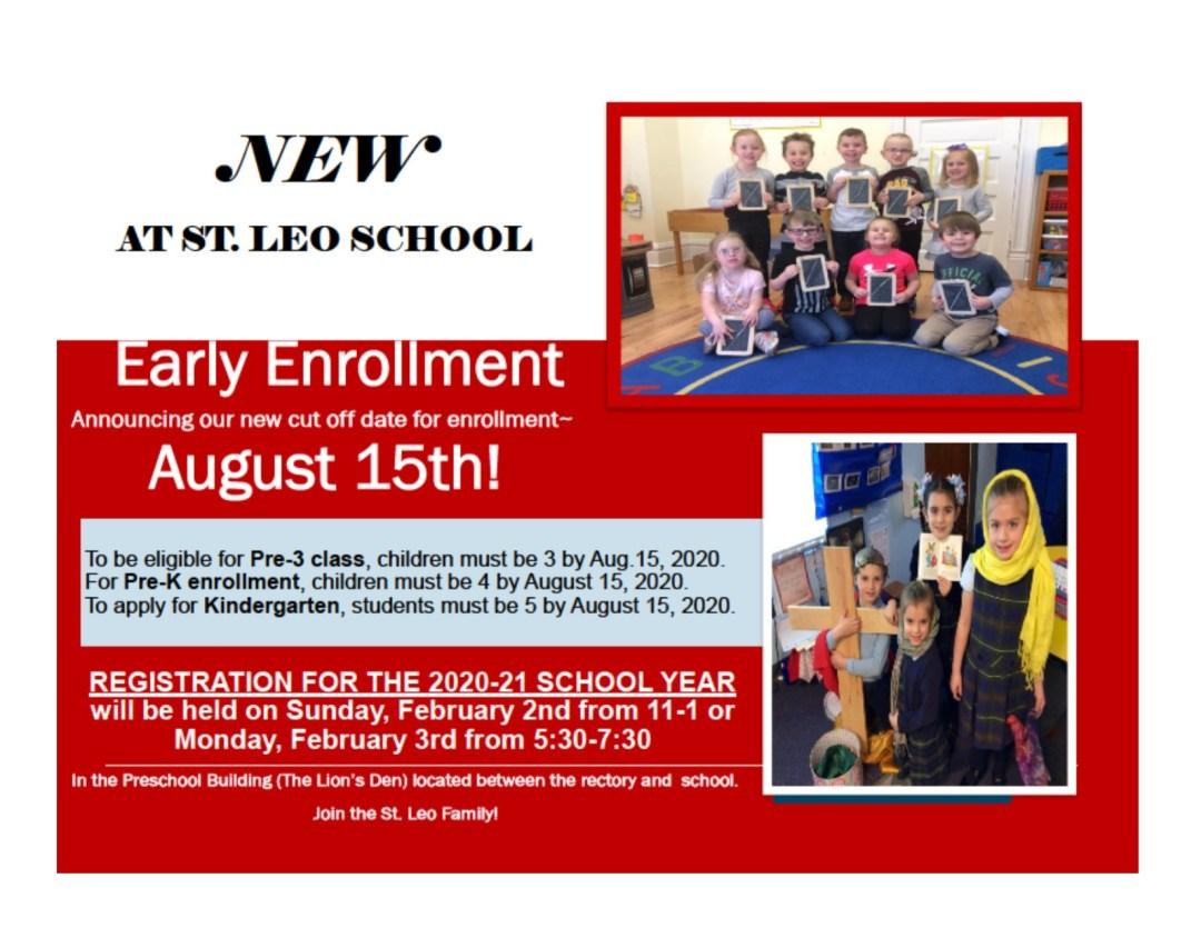 St.  Leo School extends Preschool early enrollment to August 15th!
