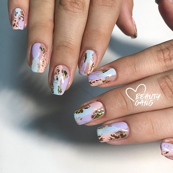 Foil Gold Pastel Nail Art Idea 2020 Nail Trends Ecemella