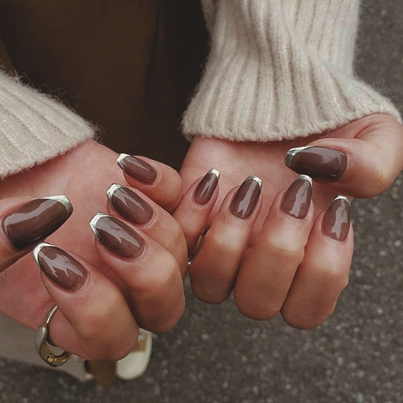 Metallic Silver French Mani Nail Art 2020 Nails Trends Ecemella