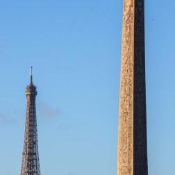 L'obélisque et la Tour Eiffel vus de la Concorde