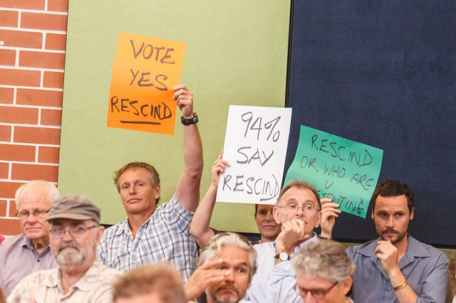 Ewingsdale residents keep up the pressure at the Byron Shire Council meeting yesterday (Thursday, October 30). Photo Eve Jeffery