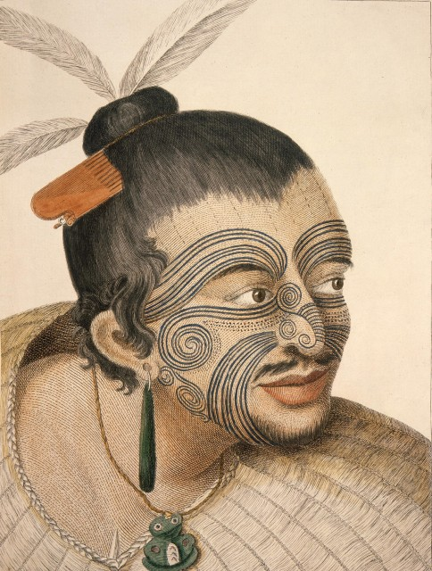 Example of ta moko, or tattooing, on a Maori chief from the 18th century. Illustration by Sydney Parkinson (1745-1771) in a journal of a voyage to the South Seas, 1784.