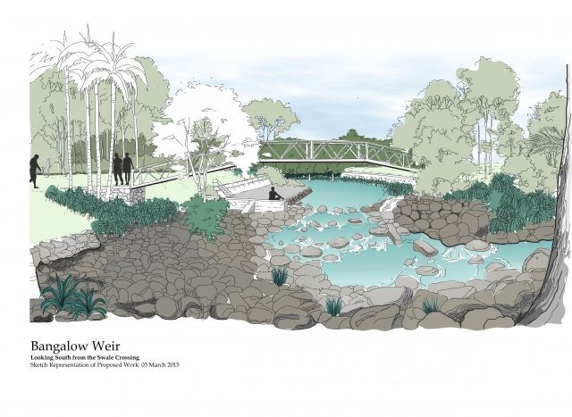 Artist's impression of the remodelled Bangalow Weir.