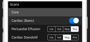 Screenshot of adding scans interface
