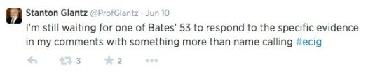 Glantz Tweet in response to Clive Bates