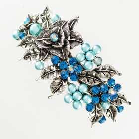 Grande barrette à cheveux argenté fleurs Maneo