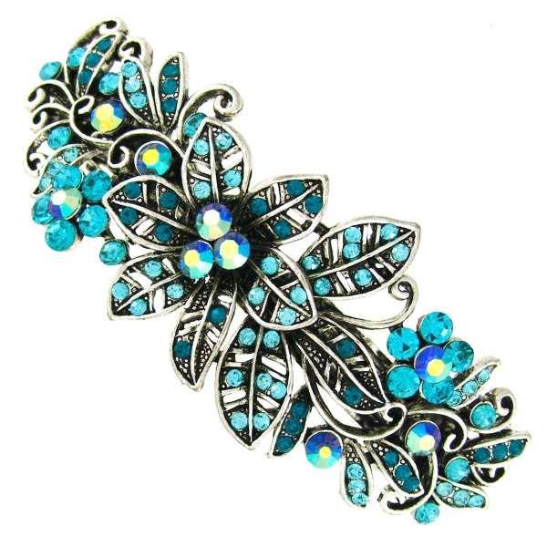Grande barrette à cheveux argenté fleurs Melia