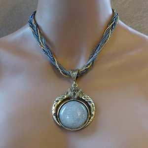Collier perle et pierre Bysance