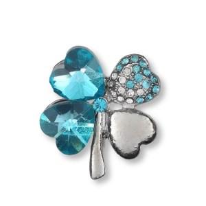 Broche Trèfle et Cœurs Strass en Cristal