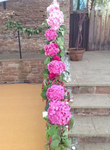 pink stair garland