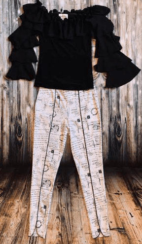 Joseph Ribkoff Newspaper Print Pants