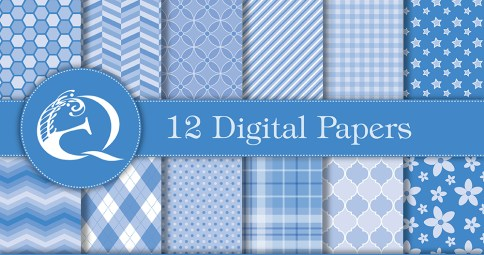 Modern Blue Digital Paper: Instant Download