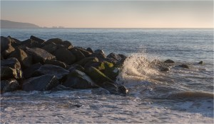 The Needles from Hurst Spit, coastal photography, sea photography, sea spray on rocks, sea scape