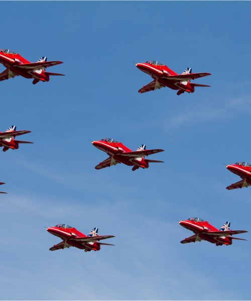 The Red Arrows, Nine Red arrows, Flying formation, Training jet, Jet trainer, Air show, Air display, Farnborough air show, Air craft photography