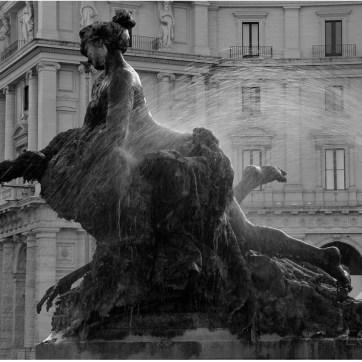 Bronze Nymph, Fountain Della Naiadi, Rome, Travel Photography, Fountain