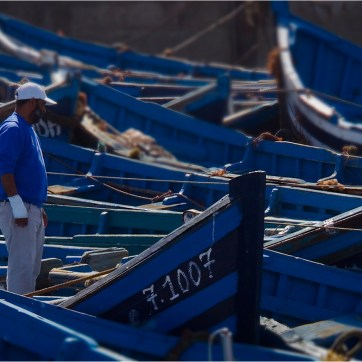 Blue boats, Essaouira, fishing boats, travel photography