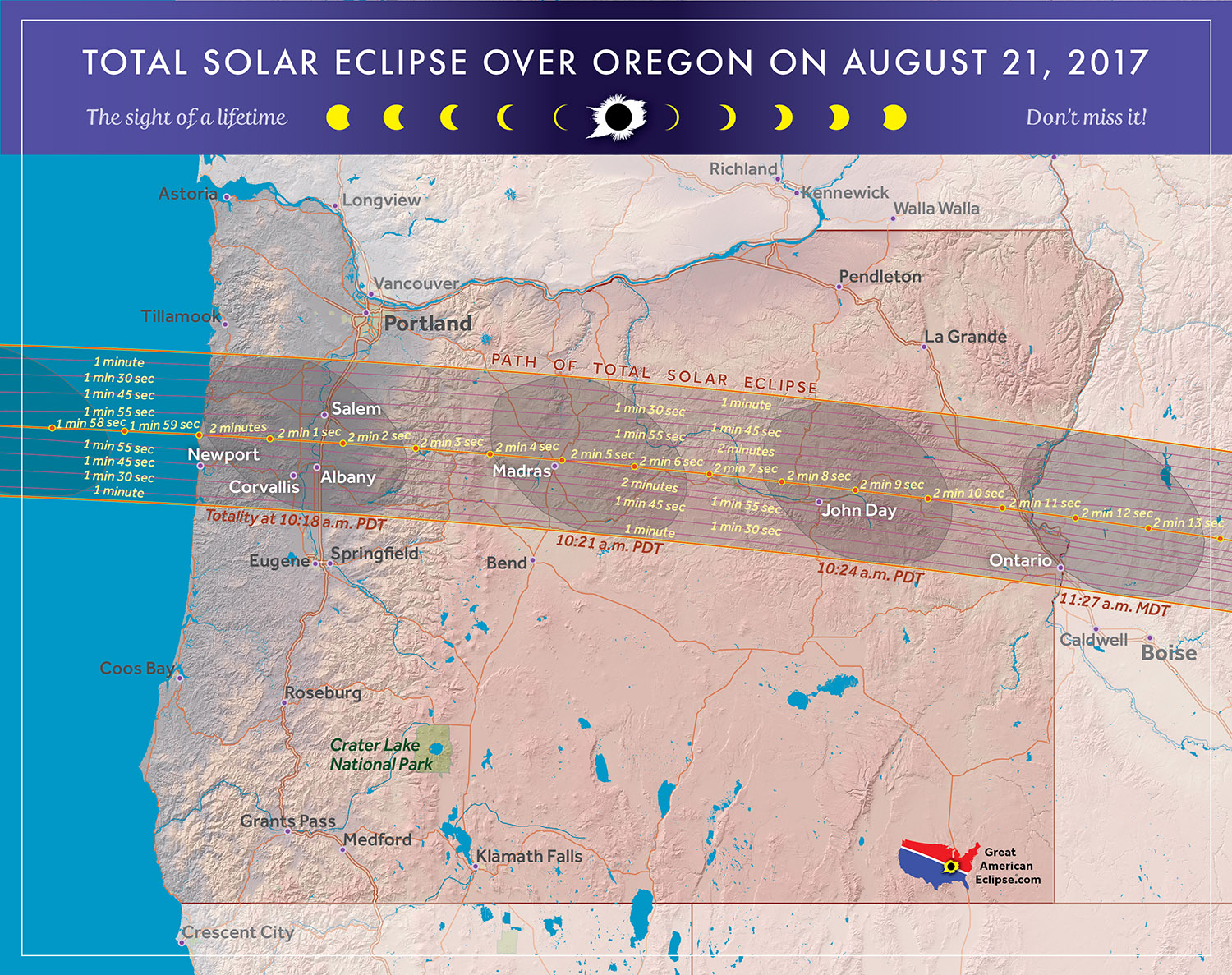 2017 Total Solar Eclipse in Oregon Map courtesy of Michael Zeiler GreatAmericanEclipse com
