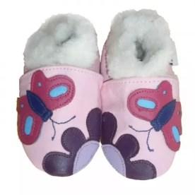Chaussons cuir souple Fourrés Papillons / Éco-bébé