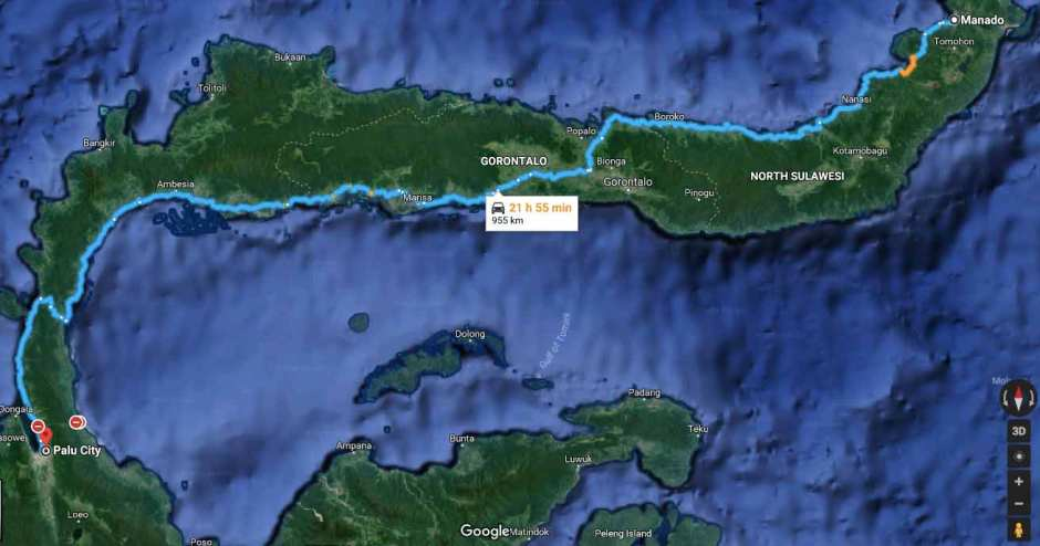 Distance From Palu