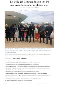 Article presse NiceMatin : 2018-04-14 - La ville de Cannes édicte les 10 commandements du plaisancier.