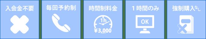 入会金不要 毎回予約制 時間制料金 1時間のみOK 強制購入なし
