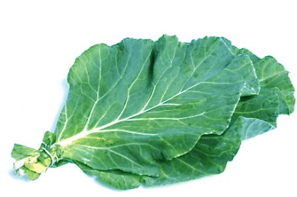 bunch of collard greens on white background