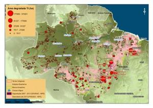 Os maiores focos de degradação foram identificados ao longo do Arco do Desmatamento, principalmente nos estados do Maranhão, Pará e Mato Grosso (© Greenpeace)
