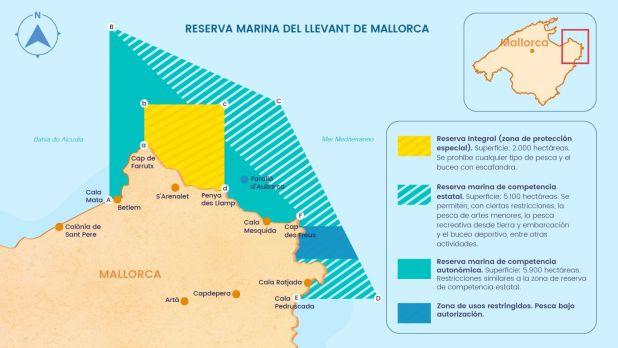 Zonaje de la Reserva Marina del Llevant de Mallorca / Imagen: Elaboración propia a partir de datos del Gobierno de las Islas Baleares y del Ministerio de Agricultura, Pesca y Alimentación