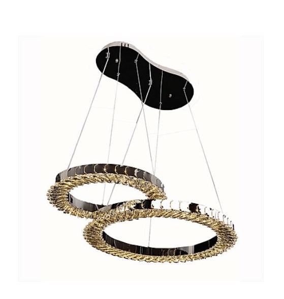 Hanging duo rings crystal chandelier