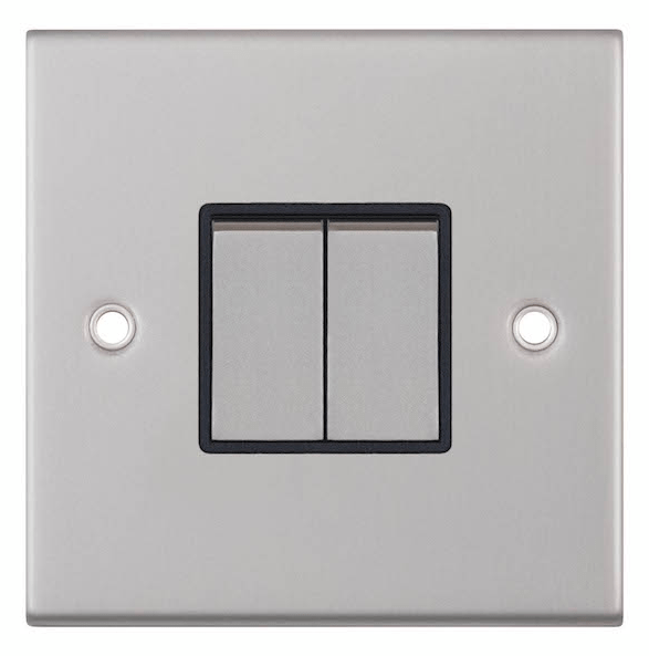 satin chrome switch with identical rocker switches and black insert