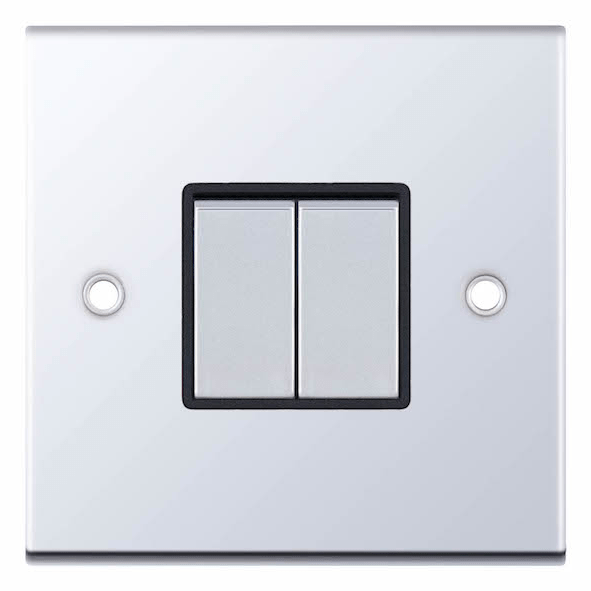 Polished chrome light switch with black insert 2 gang 2 way