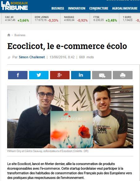 Ecoclicot à l'honneur dans la presse