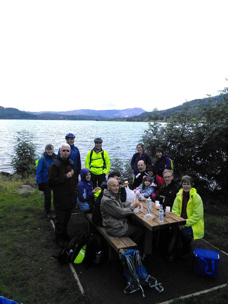 Walkers and cyclists on pligrimage journey to Trossachs Church