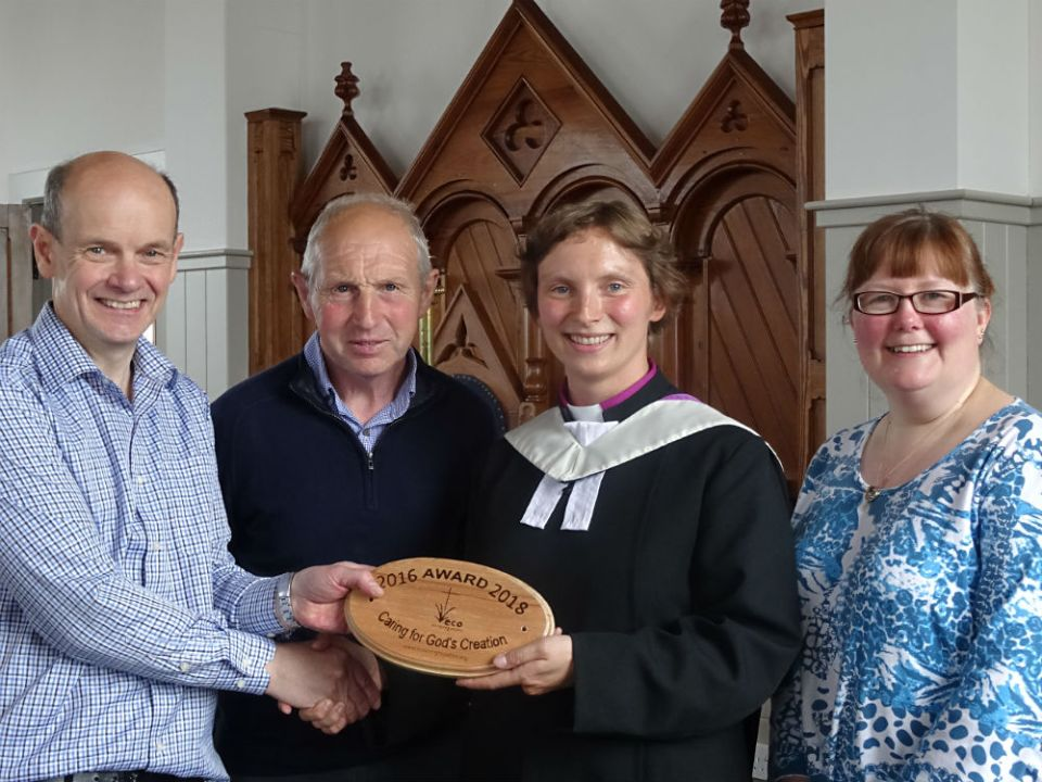 (Left to right) Mark Kirkbride (Eco-congregation), Kenny Meason (Session Clerk Shapinsay), Revd. Julia Meason (Minister), Caroline Bird (Church Secretary)