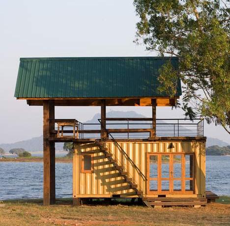 Lakeside Shipping Container Retreat in Sri Lanka