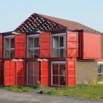 THE LILLE RED SHIPPING CONTAINER HOUSE, LILLE, FRANCE.