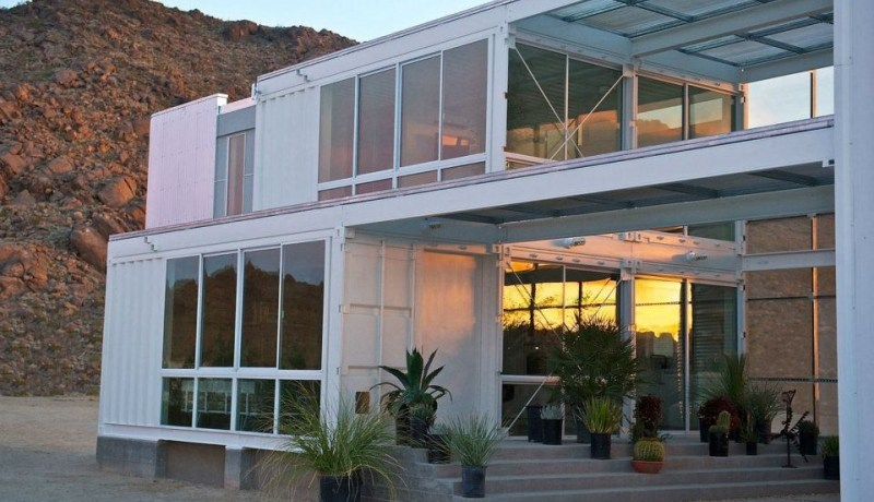Tim Palen Shipping Container Studio at Shadow Mountain, Mojave Desert, USA.