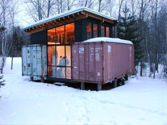 Holyoke cabin an off grid shipping container home - Container homes cost per square foot ...