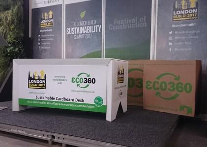 Cardboard desk on stage at London Build 2017